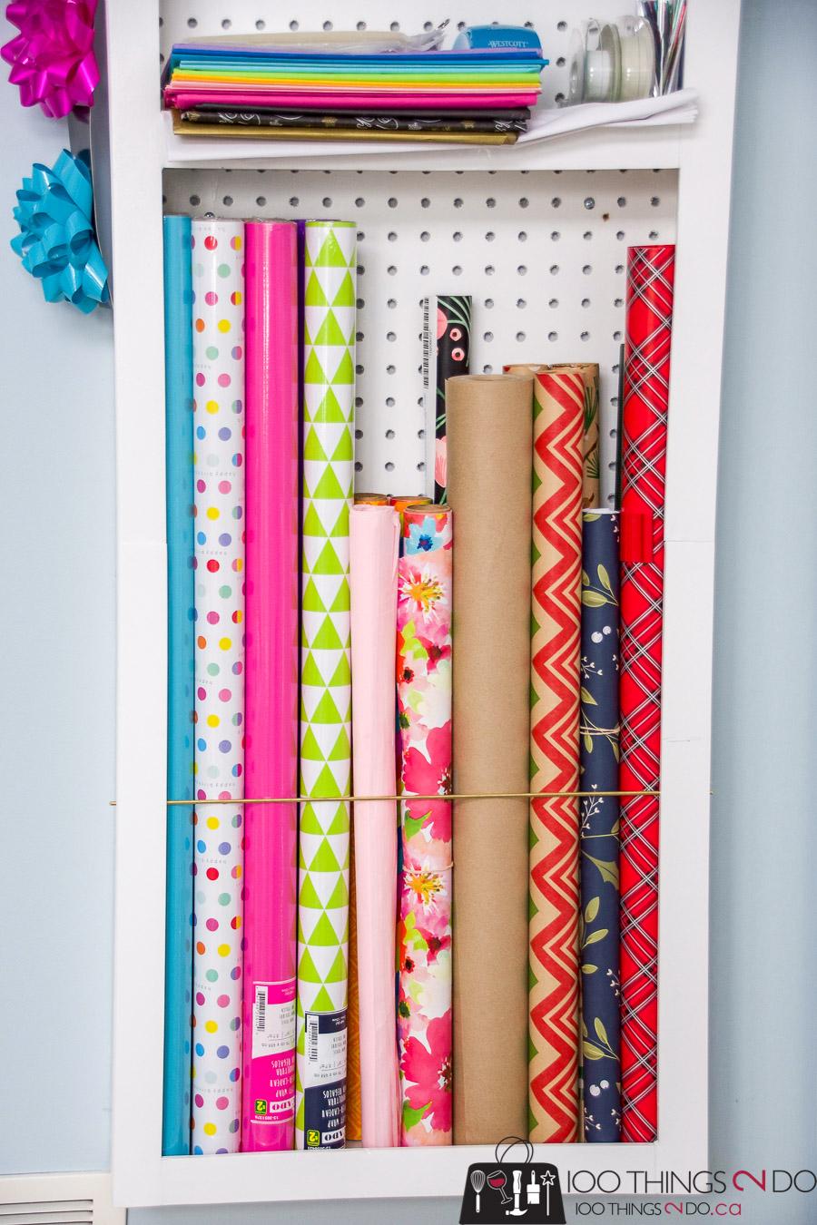 Behind-the-door-storage, behind the door storage rack, DIY door storage, gift wrap storage, wrapping paper storage, wrapping paper organization, organizing gift wrap