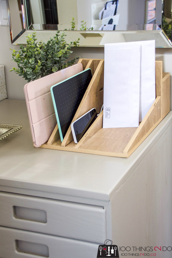 tablet charging station, iPad charging station, iPhone charging station, mail sorter, entryway organization
