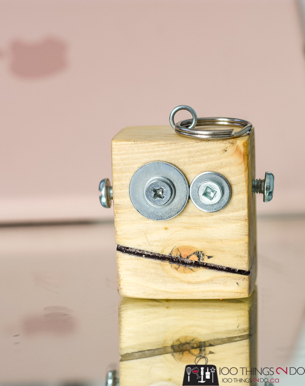 scrap wood robot, wood robot, scrap bot, robot keychain, scrap wood keychain, wood keychain