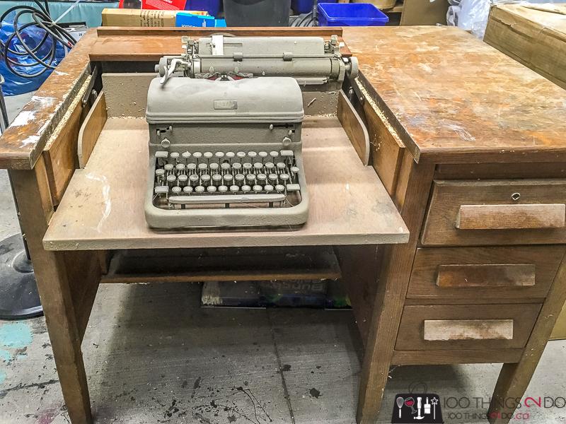 Antique typewriter desk, vintage typewriter desk, refinished typewriter desk