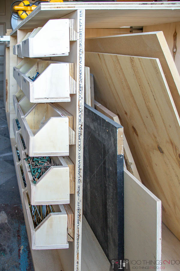Workbench bins, screw storage, DIY storage bins, bolt bins, small parts bins