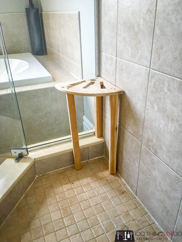 DIY shower stool, shower stool, cedar shower stool, shaving your legs in the shower