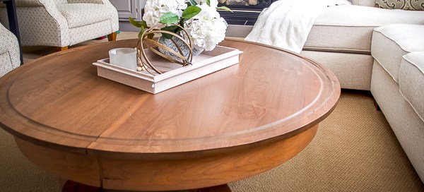 Round coffee table, refinishing a coffee table, coffee table makeover