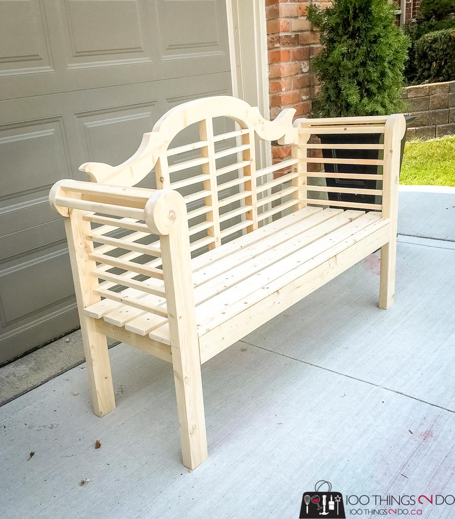 DIY garden bench, garden bench, Lutyens bench, Lutyens garden bench, blue bench, blue garden bench