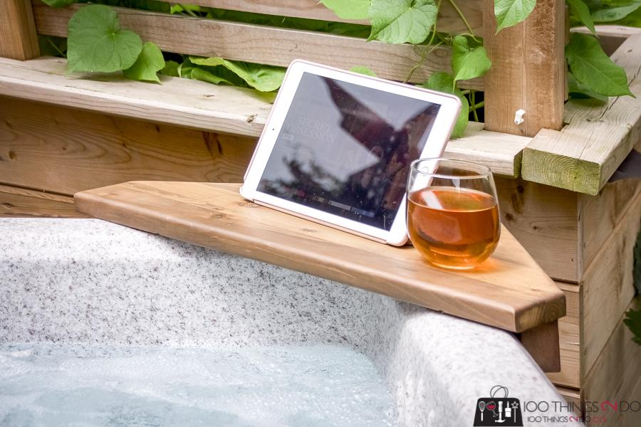 bath shelf, hot tub shelf, bath caddy, hot tub tray, bath tray, corner tray