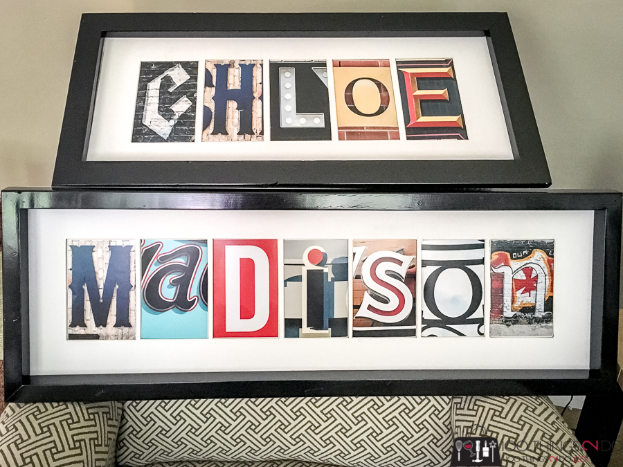 name collage, letter collage, name art, photographed letters to make up a name