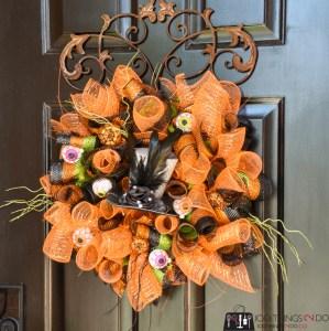 dollar store wreath, DIY wreath, Easy Hallowe'en wreath, Hallowe'en decor
