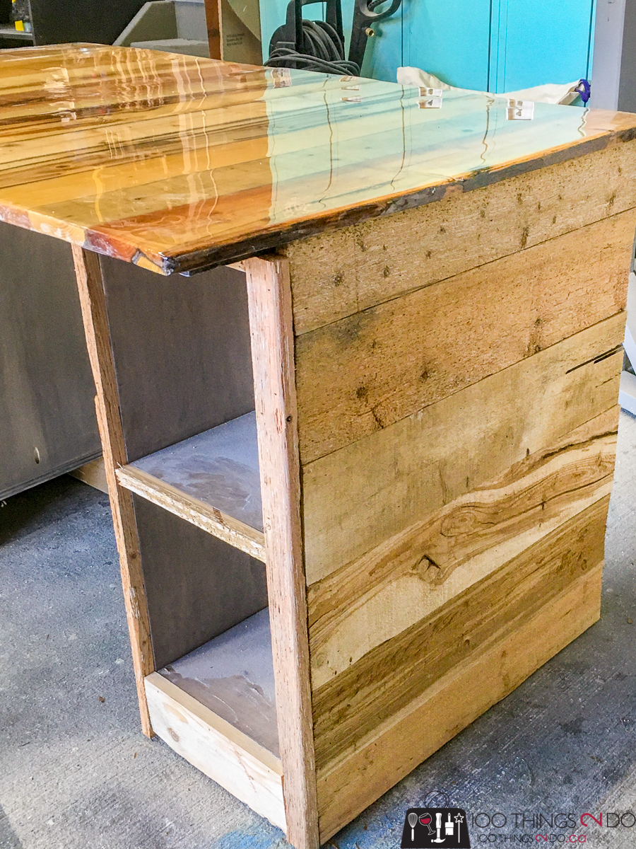 sides of barn board desk