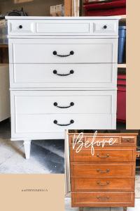 Tallboy makeover, tallboy dresser makeover, tallboy dresser before and after