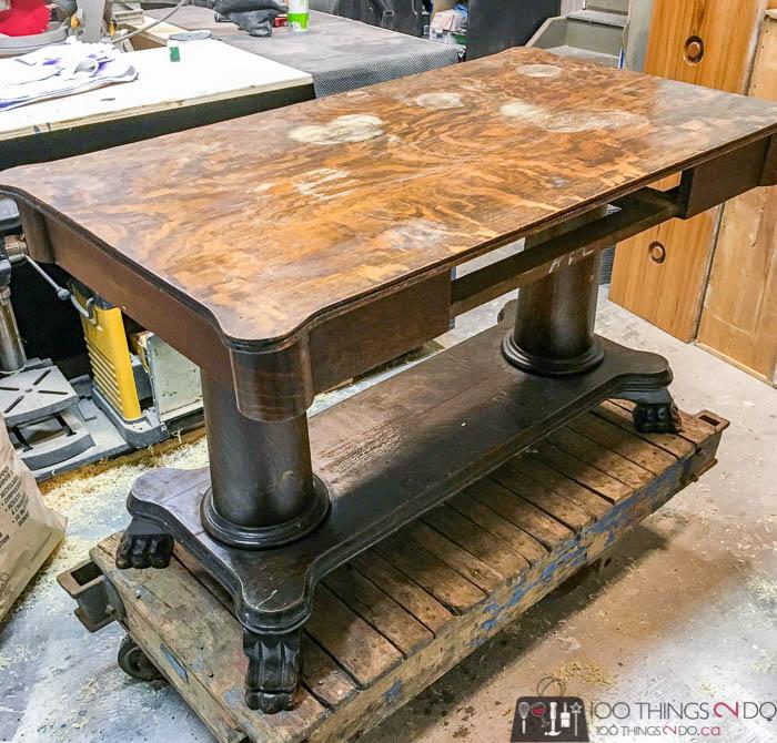 antique desk makeover - before