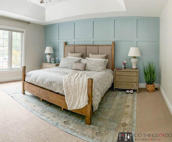 "Master bedroom makeover, Behr ""Watery"", Benjamin Moore ""Pale Oak"""