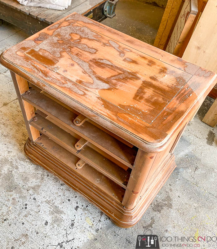 partially sanded nightstand