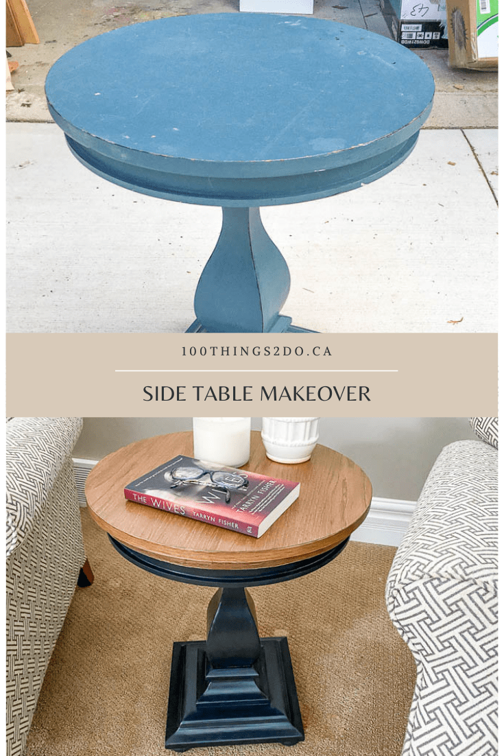 small side table, round side table, refinishing a side table