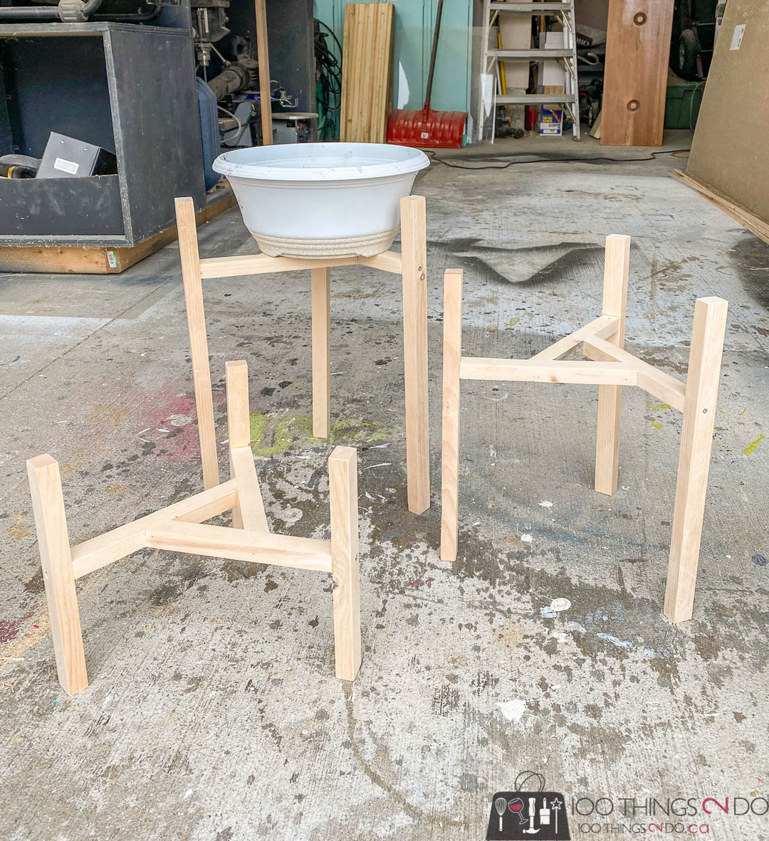 scrap wood plant stand, 3-legged plant stand, raised plant stand, raised planter holder
