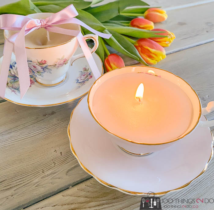 making candles out of teacups, teacup candles