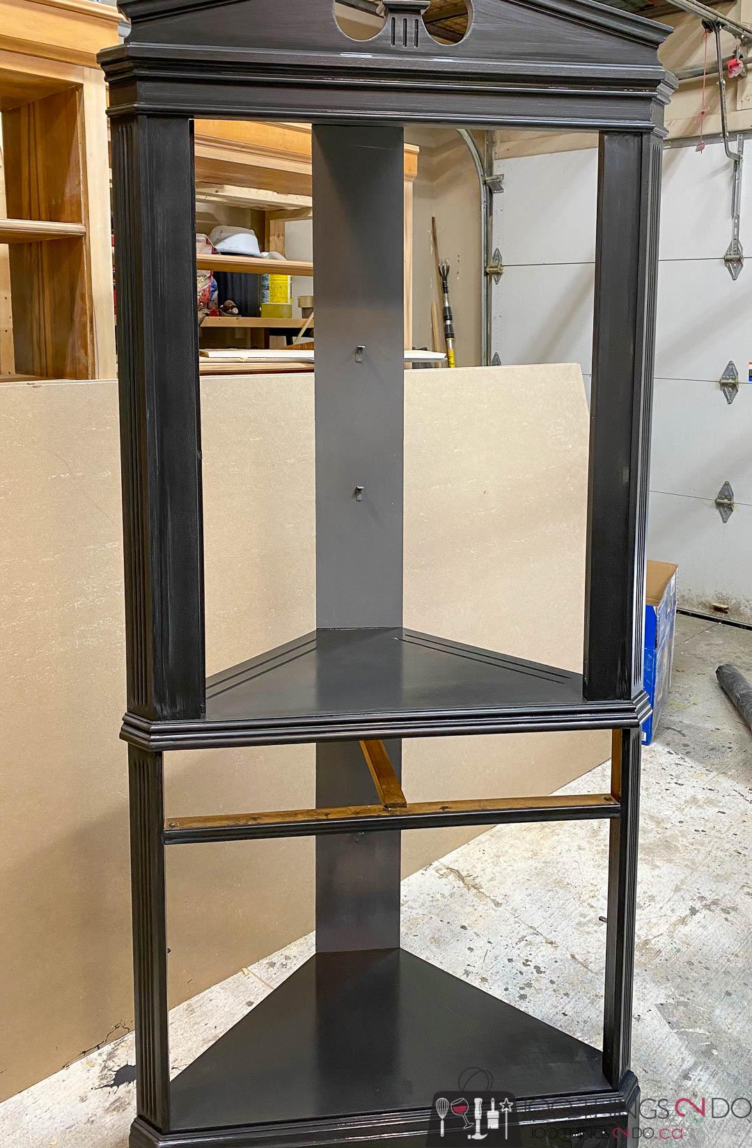 painting a corner cabinet black