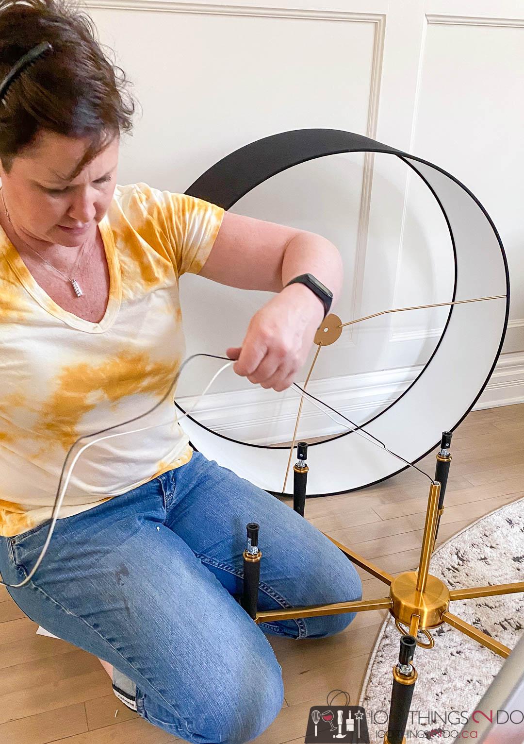 assembling a chandelier