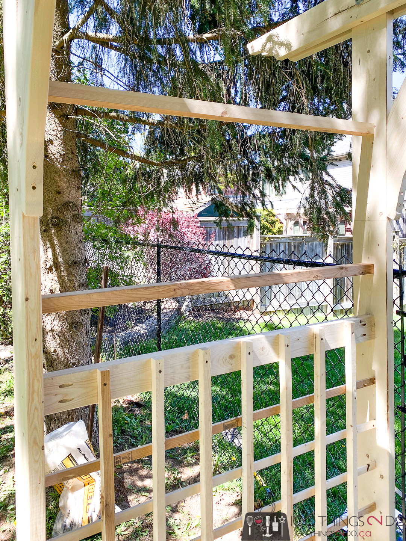 creating the grid on a garden arbor