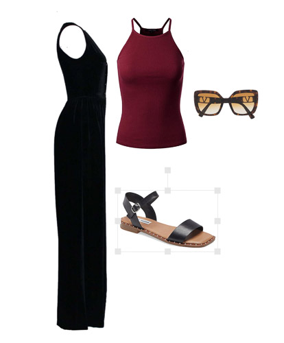 red tank, black overall