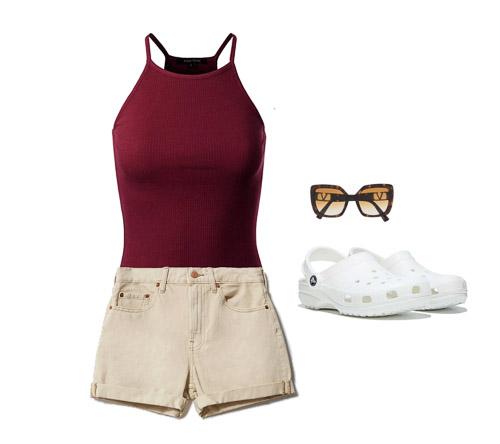 red tank, khaki shorts