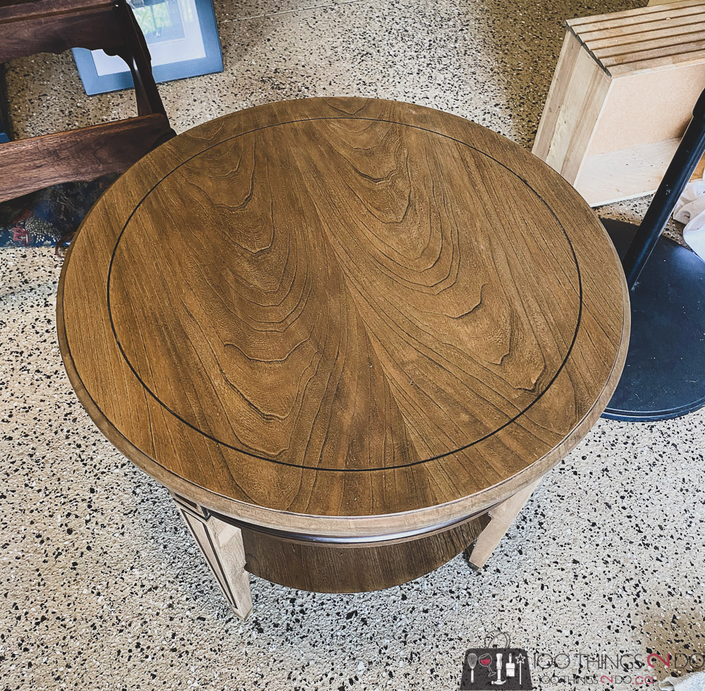 side table makeover, refinished side table, refinishing a side table,