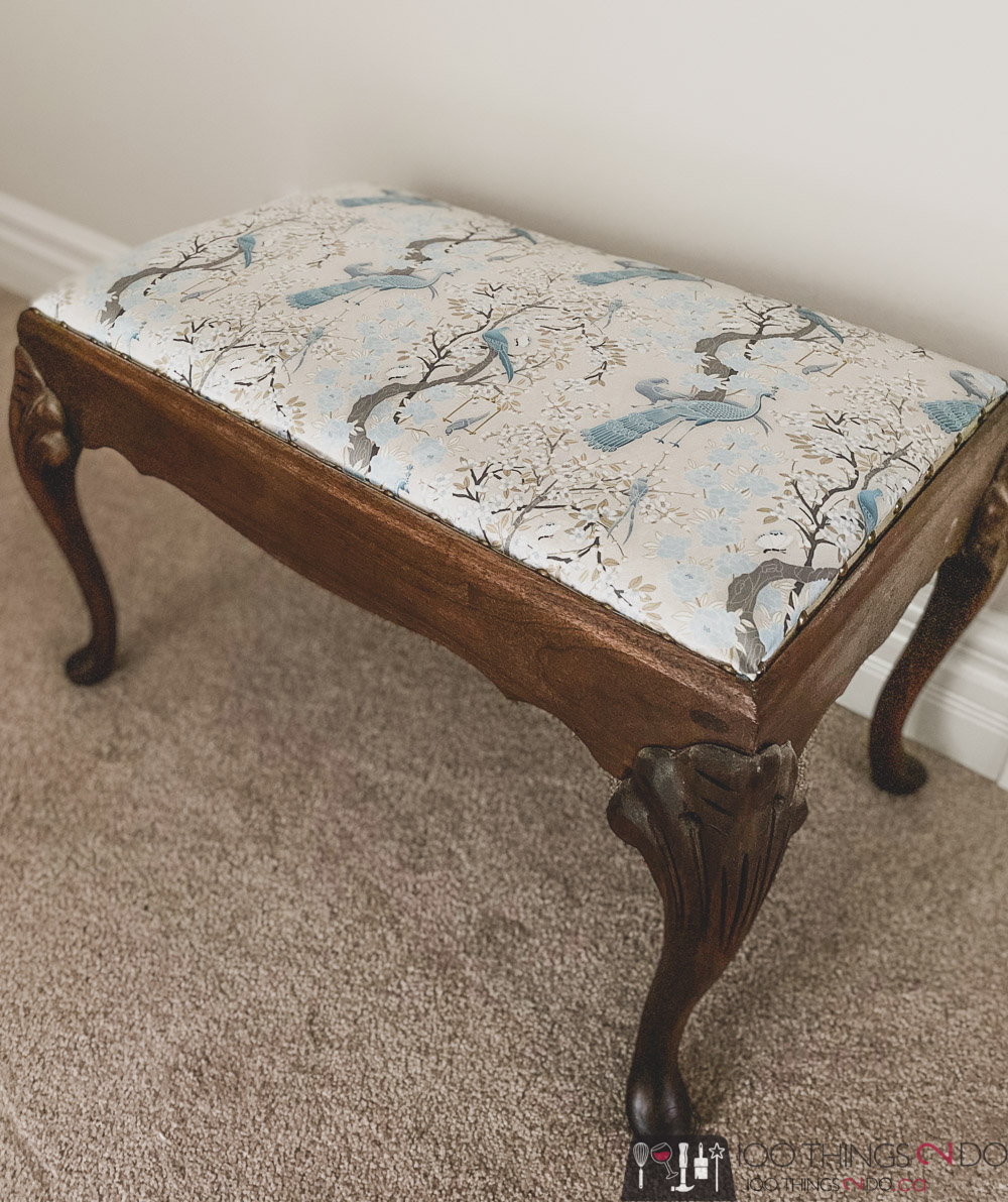 antique footstool, antique footstool makeover