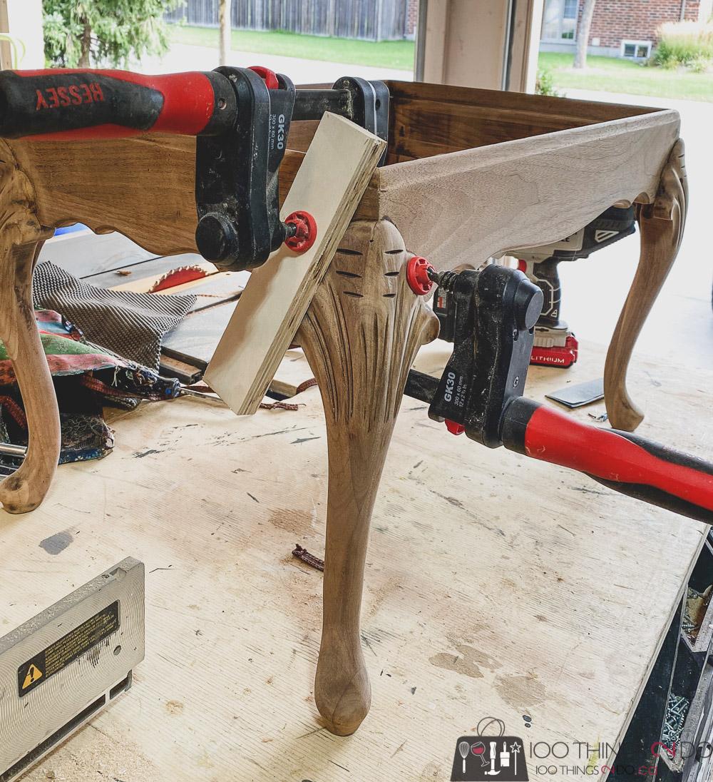 repairing an antique footstool