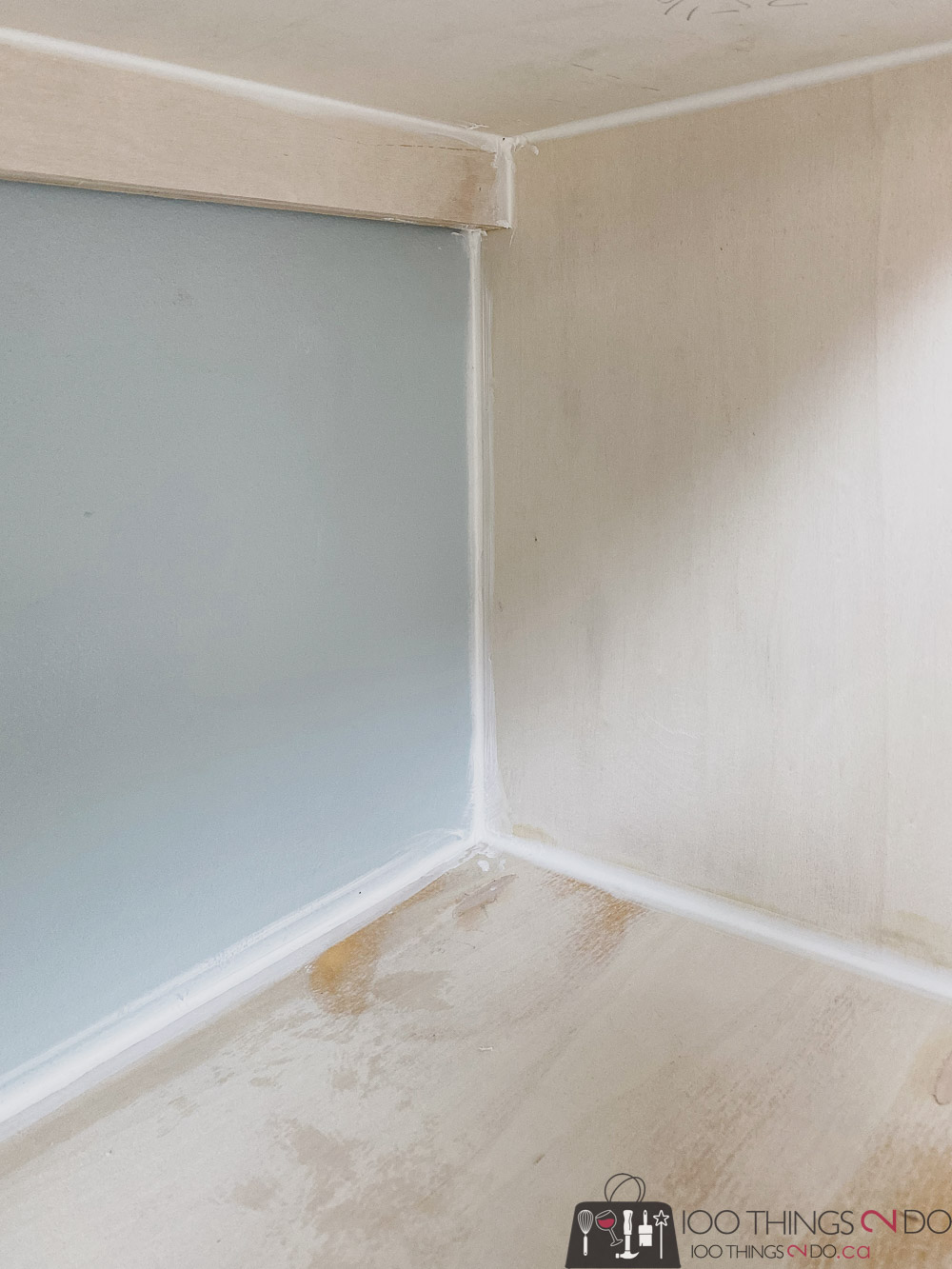 caulking the home office built-ins