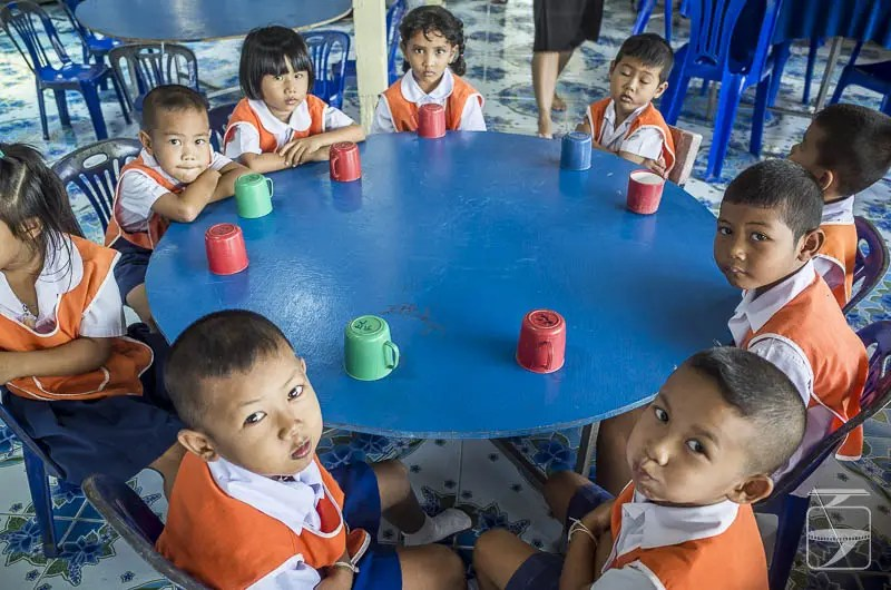 Kindergarten Children Waiting for Lunch