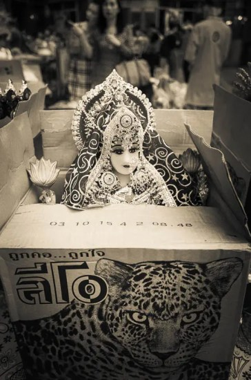 Hindu deity inside a Leo beer box