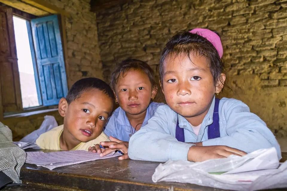 Schoolchildren in a Himalayan mountain village