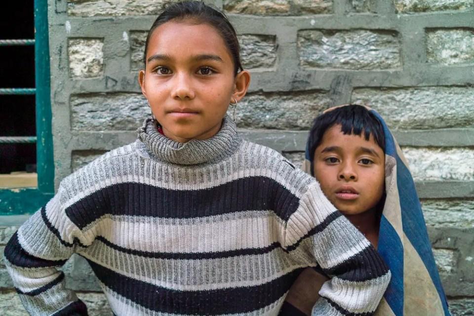 Children, mountain village, Annapurna