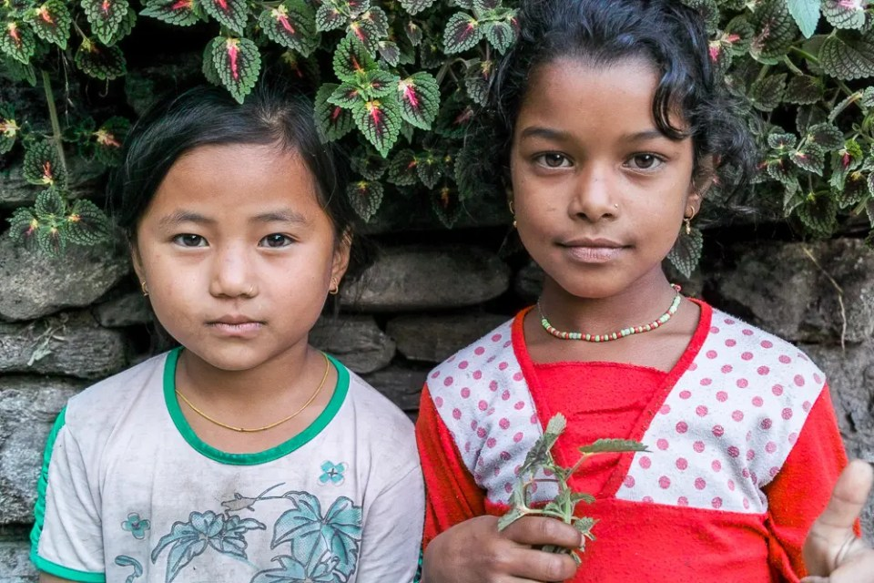 Best friends: Tibetan and Nepalese girls