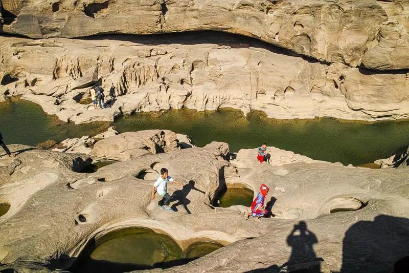 Children playing at the Sam Pan Bok canyon