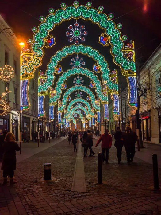 Balcescu pedestrian street in Sibiu during Christmas
