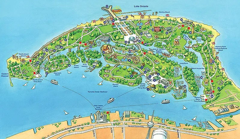 Toronto Islands map
