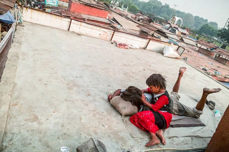 Children on a rooftop