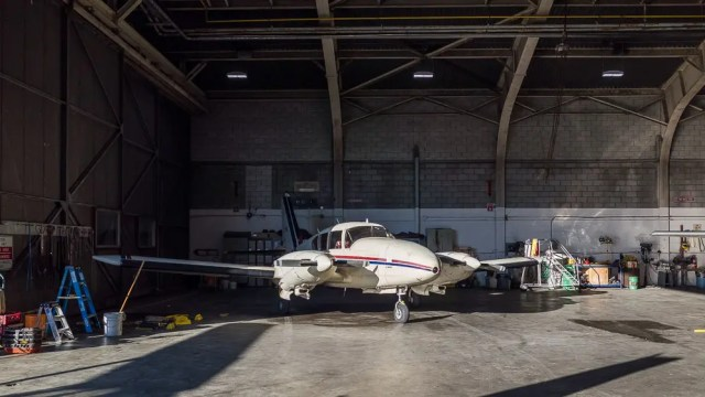 Airplane inside hangar