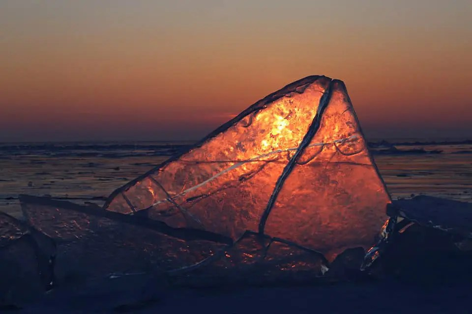 Sunset ice