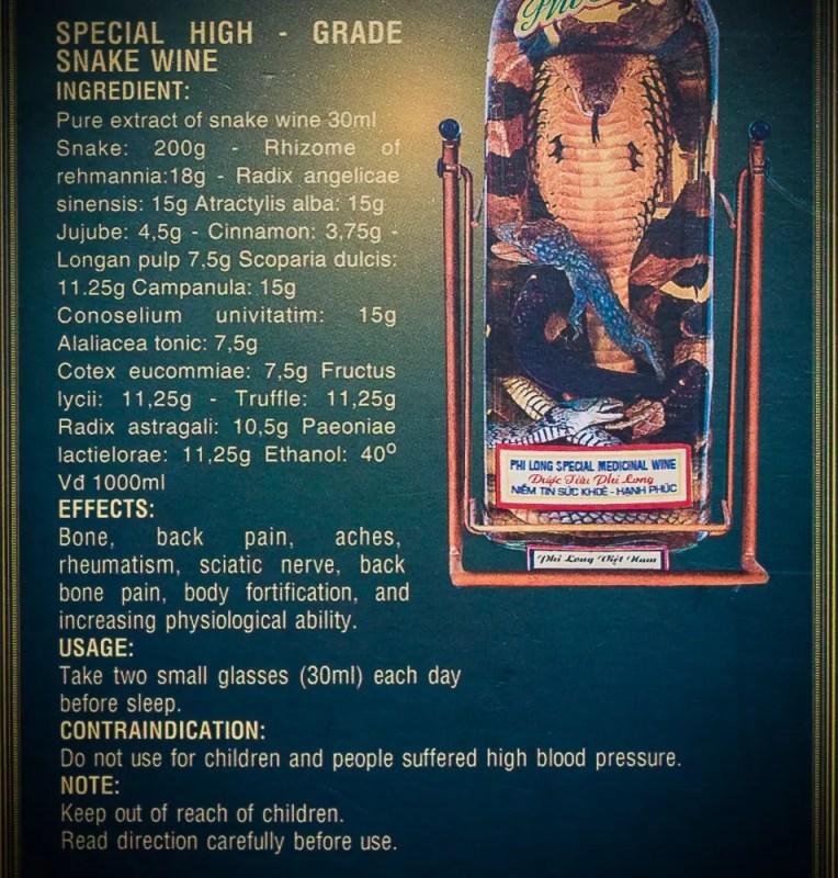 Snake wine ingredients