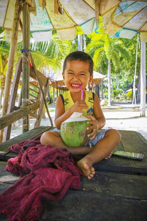 Boy with coconut
