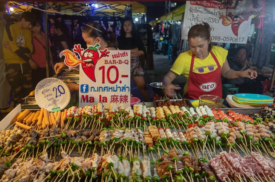 Meat and seafood skewers, Ao Nang Night Market