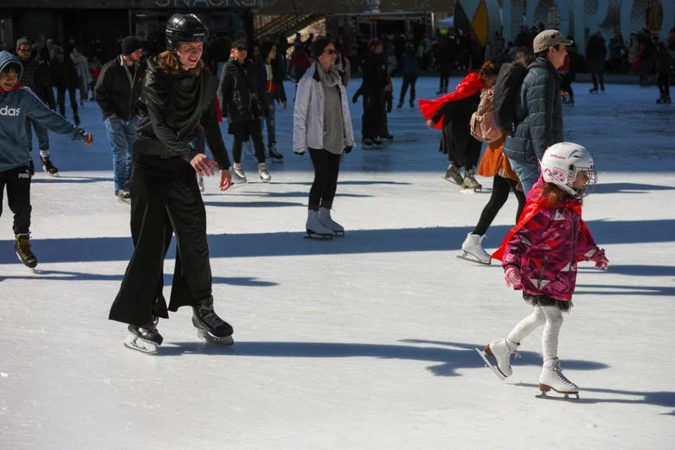 Mom and daughter skating