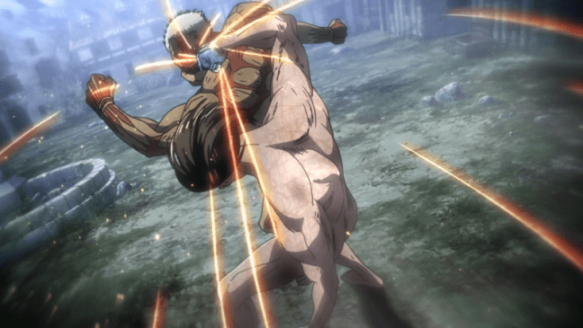 Eren fighting Reiner - Attack on Titan Season Three Part Two Episode Two