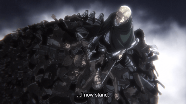 Erwin - Standing on the corpses of the Scouts.