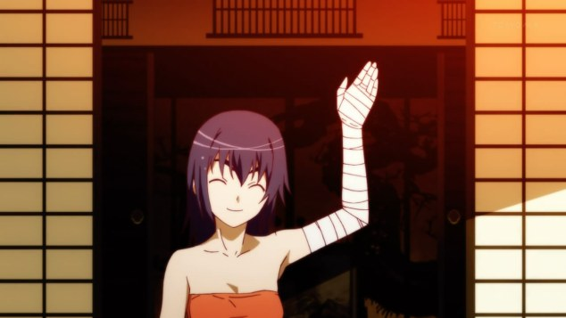 nisemonogatari-03-kanbaru-waving-good_bye-bandages-smile