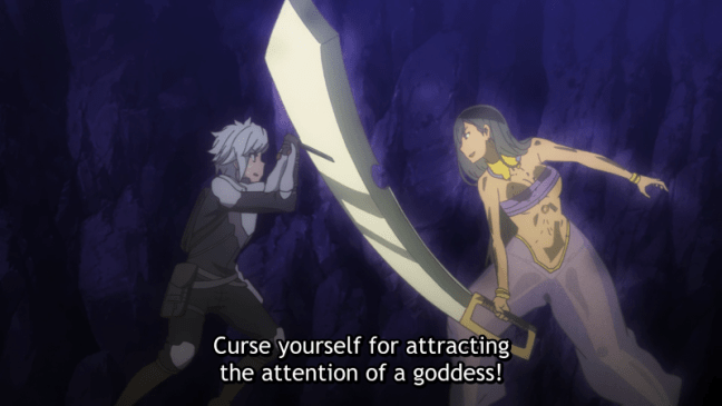 Bell being attacked by an Amazon - DanMachi