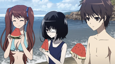 Characters from Another think they are getting some down time in this anime beach episode. Poor them.