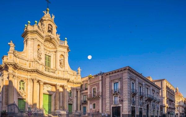 Catania via Etnea Basilica Collegiata e palazzotto Biscari