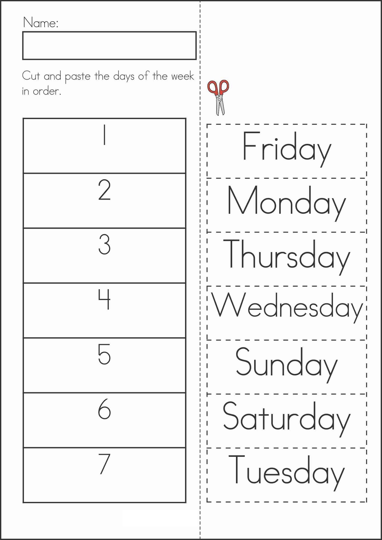 Days Of The Week Worksheet Activities
